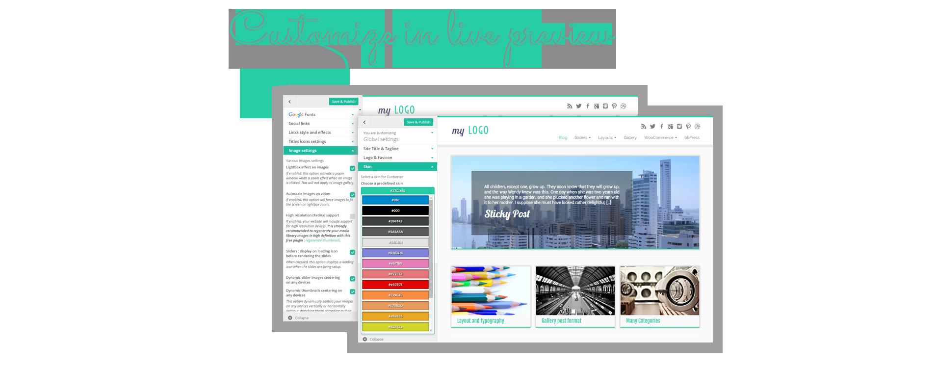 Numerose opzioni per il layout e look sono accessibili nello schermo di personalizzazione di Wordpress: vedi i tuoi cambiamenti dal vivo!